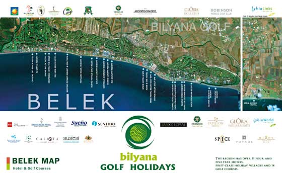 Belek Map , Golf Courses and Hotel